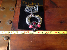 Striking Red Balls Crystals and Stones Silver Tone Scarf Pendant by Magic Scarf image 6