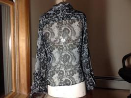 Studio 140 Black White Flowery Button Up Blouse V-Neck Size Medium image 5