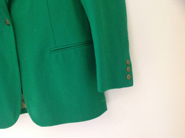 Stunning Bloomingdales Green Single Button Wool Blazer Front Pockets Size 10 image 4