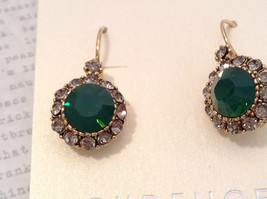 Gold Tone Emerald Color made with Swarovski Crystal and CZ Earrings Prudence C image 2