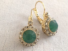 Gold Tone Emerald Color made with Swarovski Crystal and CZ Earrings Prudence C image 3