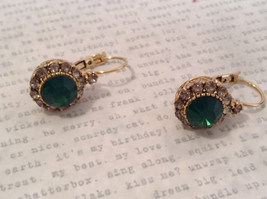 Gold Tone Emerald Color made with Swarovski Crystal and CZ Earrings Prudence C image 6