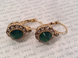 Gold Tone Emerald Color made with Swarovski Crystal and CZ Earrings Prudence C image 7