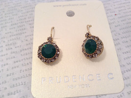 Gold Tone Emerald Color made with Swarovski Crystal and CZ Earrings Prudence C image 5
