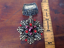 Stunning Gold Tone Scarf Pendant Snowflake Red Beads and Crystals Magic Scarf image 4