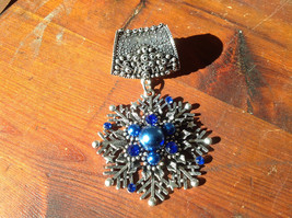 Stunning Silver Tone Snowflake with Blue Beads and Crystals Scarf Pendant image 2