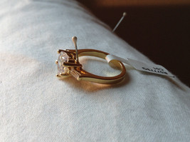 Stunning Heart Shaped CZ w 2 side CZ baguettes Gold Plated Ring Size 6 image 2