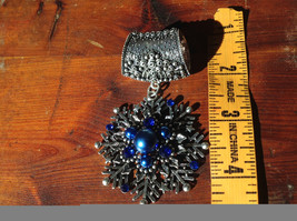 Stunning Silver Tone Snowflake with Blue Beads and Crystals Scarf Pendant image 4
