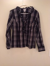 Worthington Plaid Black and White Button Up Shirt Ruffled Collar Stretch Size L