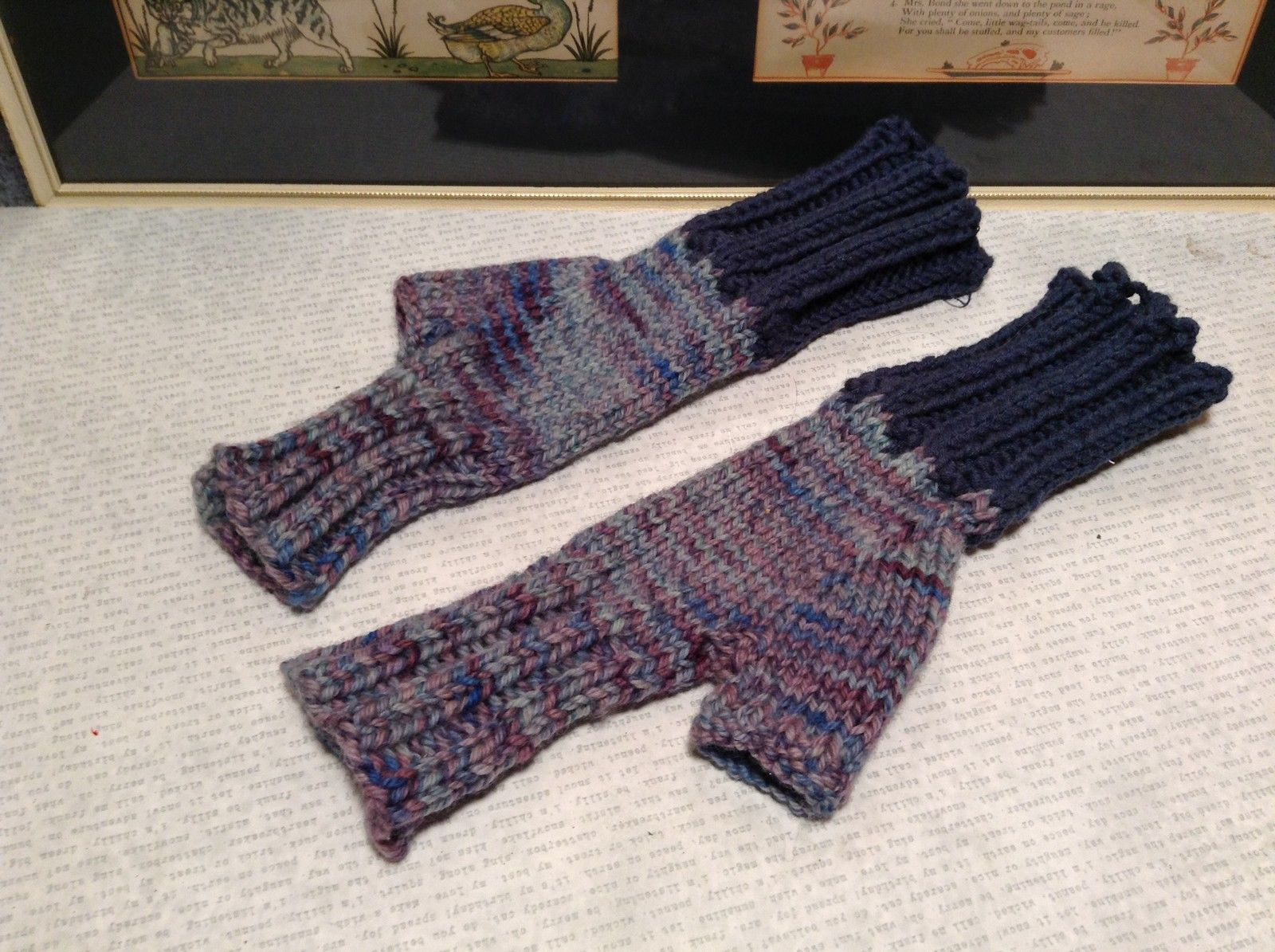Woven Lavender Fingerless Gloves for Small Hands Hand Knitted VERY Soft