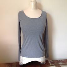 Xhilaration Light Weight Gray Long Sleeve Top Cotton Polyester Blend Size Medium - $24.74