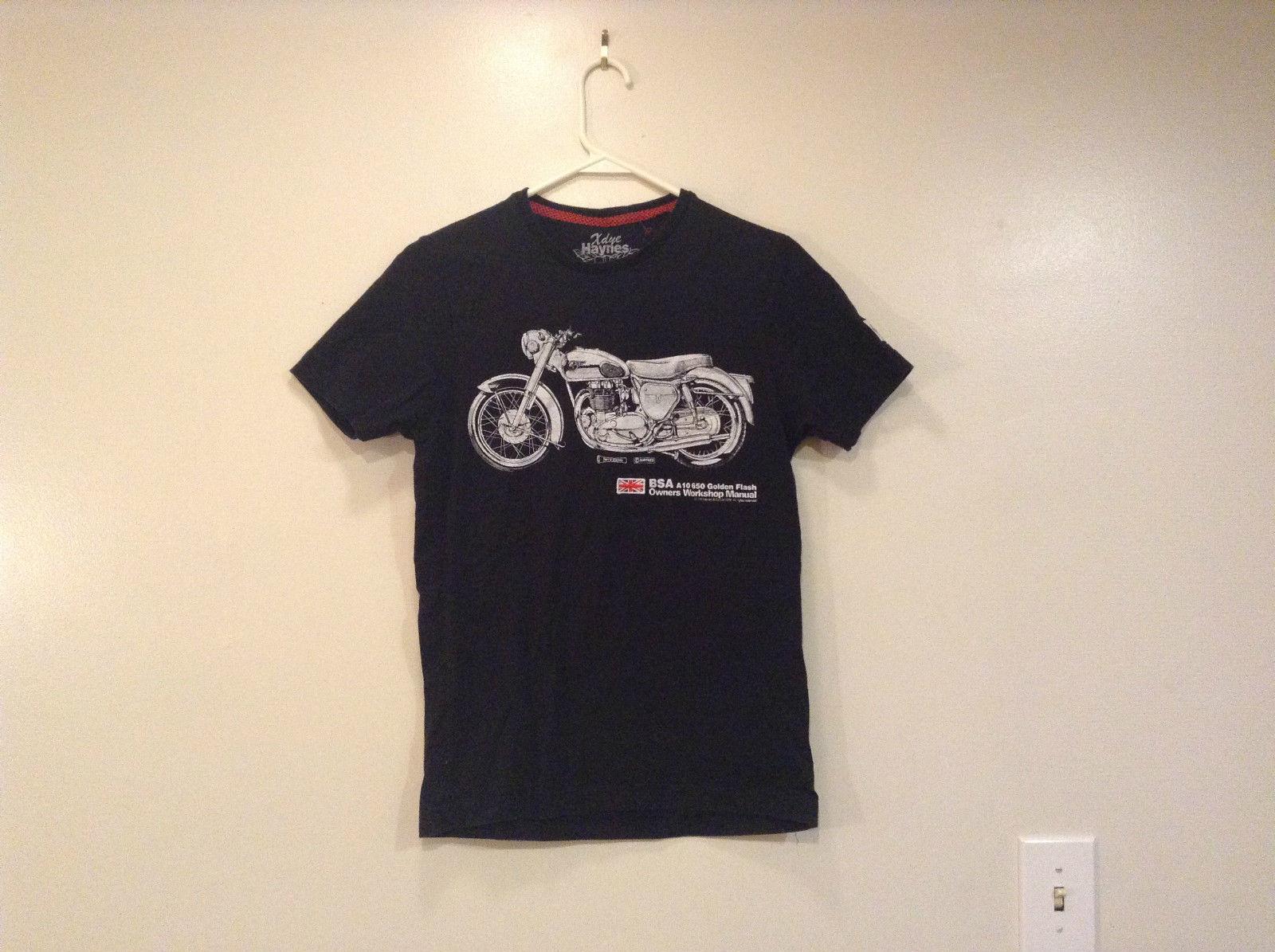X Dye Haynes Terry Davey UK flag motorcycle Short Sleeve Cotton T Shirt Size S