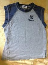 Yankees Gray Sleeveless Shirt Blue CSA 100 Percent Cotton Size 8