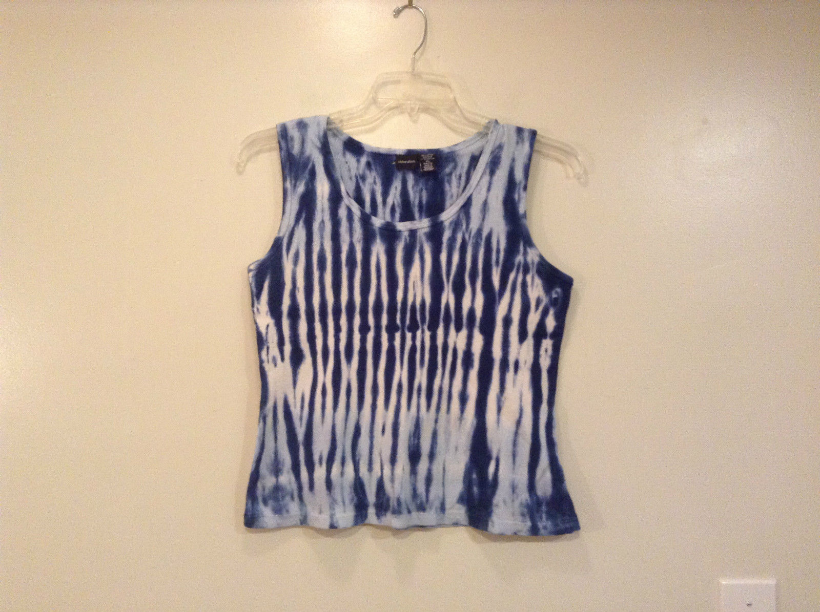 Xhilaration Tie Dye Tank Top Size XL Cotton Dark and Light Blue and White