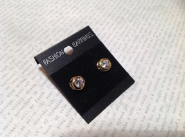 Beautiful Round CZ Gold Bordered Drop Stud Earrings image 2