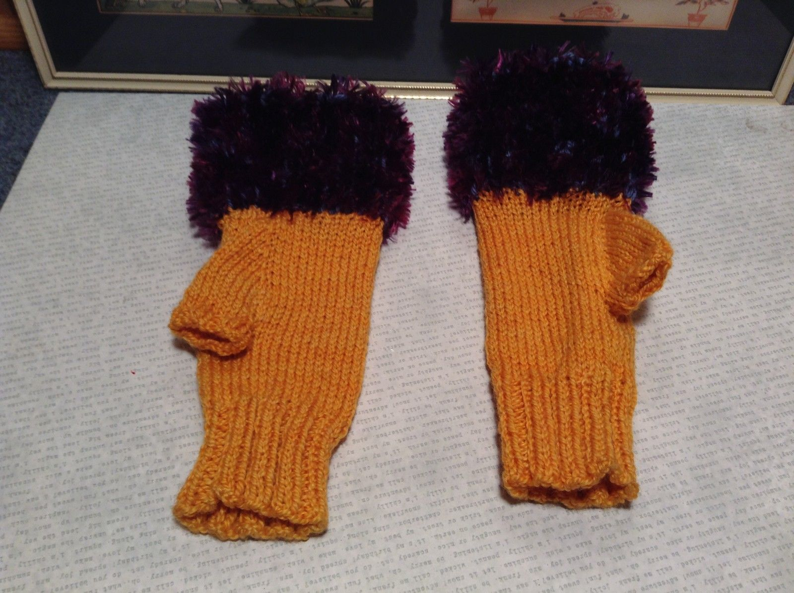 Yellow Purple Hand Knitted Woven Fuzzy Fingerless Gloves Very Soft