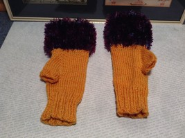 Yellow Purple Hand Knitted Woven Fuzzy Fingerless Gloves Very Soft image 1