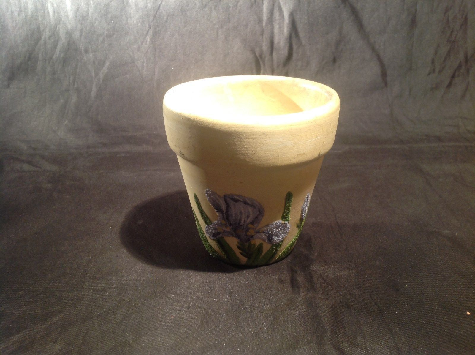 Yellow Hand Painted Flowerpot w Blue Iris Flower Three and Half Inches Tall