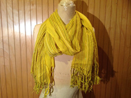 Yellow Metallic Rainbow Striped Tasseled Fashion Scarf Light Weight Material