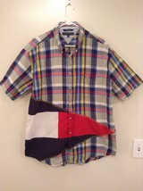 Yellow Blue Red White Stripe Tommy Hilfiger Short Sleeve Button Up Shirt Size XL