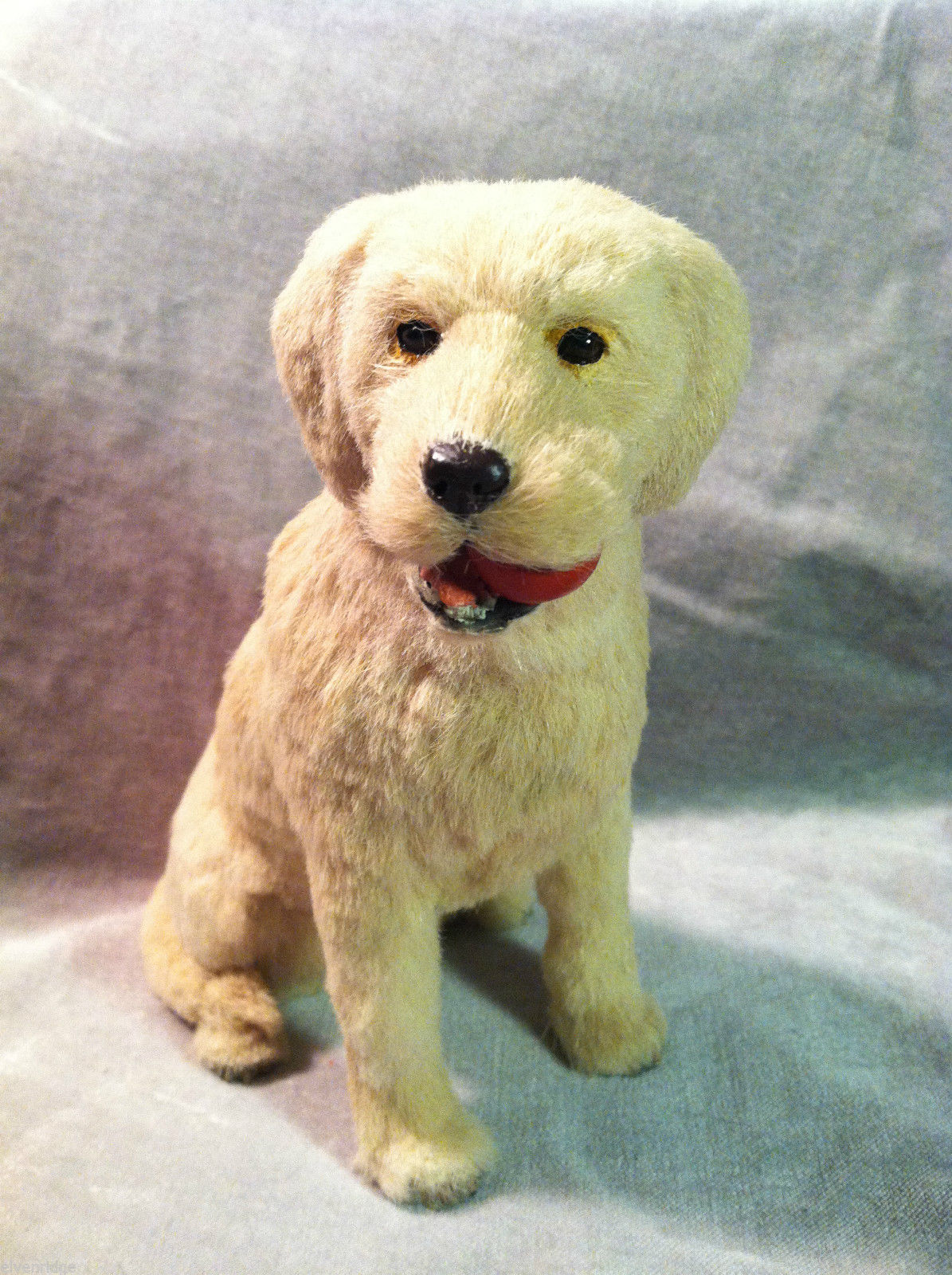 Yellow Labrador Retriever w/ red chew toy - Dog Figurine - recycled rabbit fur