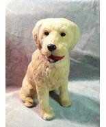 Yellow Labrador Retriever w/ red chew toy - Dog Figurine - recycled rabb... - $34.64