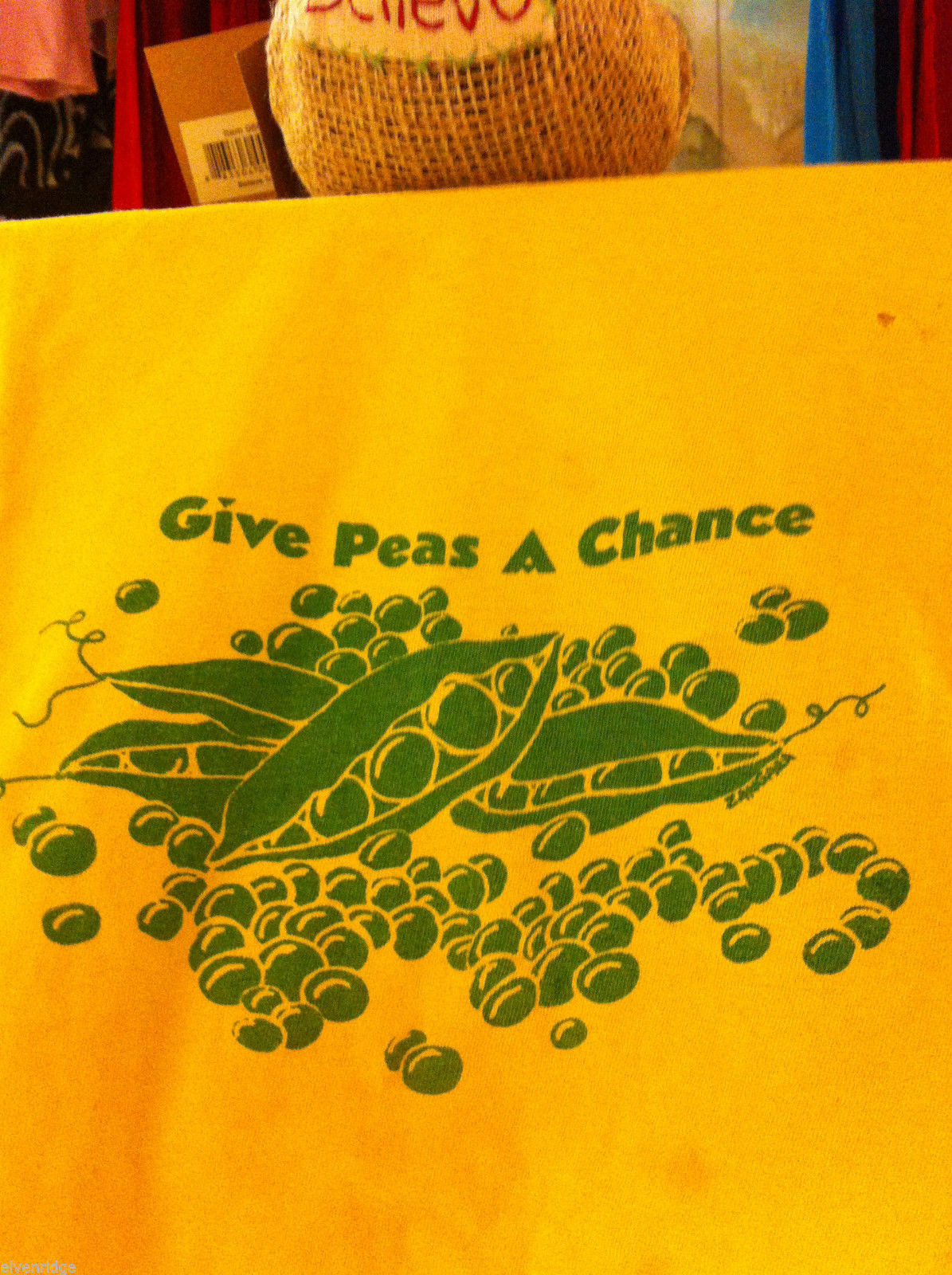 Yellow T-shirt M vintage 60s Give Peas a Chance Don't put them in the Guacamole