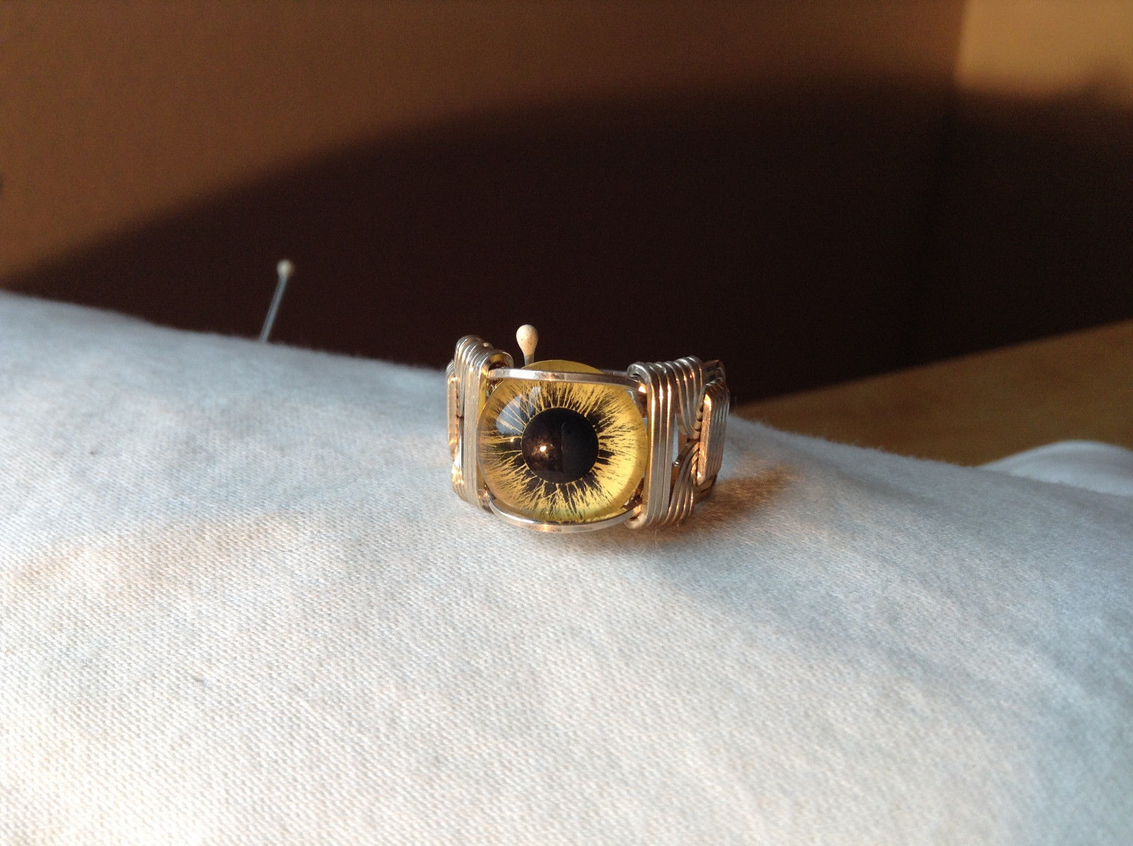Yellow Eye Silver Tone Metal Wired Ring Size 8