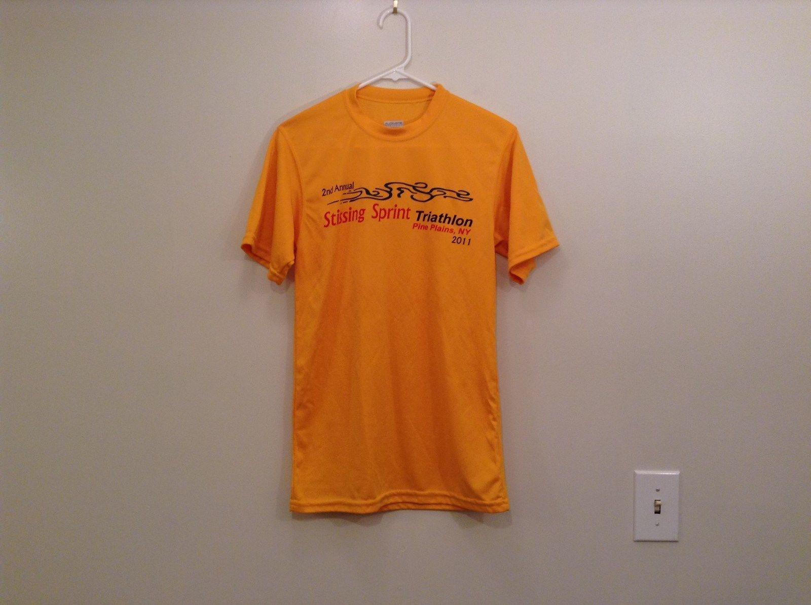 Yellow Team Graphic T Shirt 2nd Annual Stissing Sprint Triathlon 2011 Size S