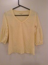 Yellow V Neck Three Quarter Length Sleeves Top New York and Company Size Medium