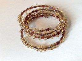 Yellow and Amber Beaded Coil Adjustable Bracelet