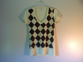 Yellow with Black and Yellow Argyle V Neck Shirt by Twenty One Size M