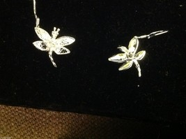 Beautiful sterling silver dragonfly  dangle earrings with Austrian crystal image 2