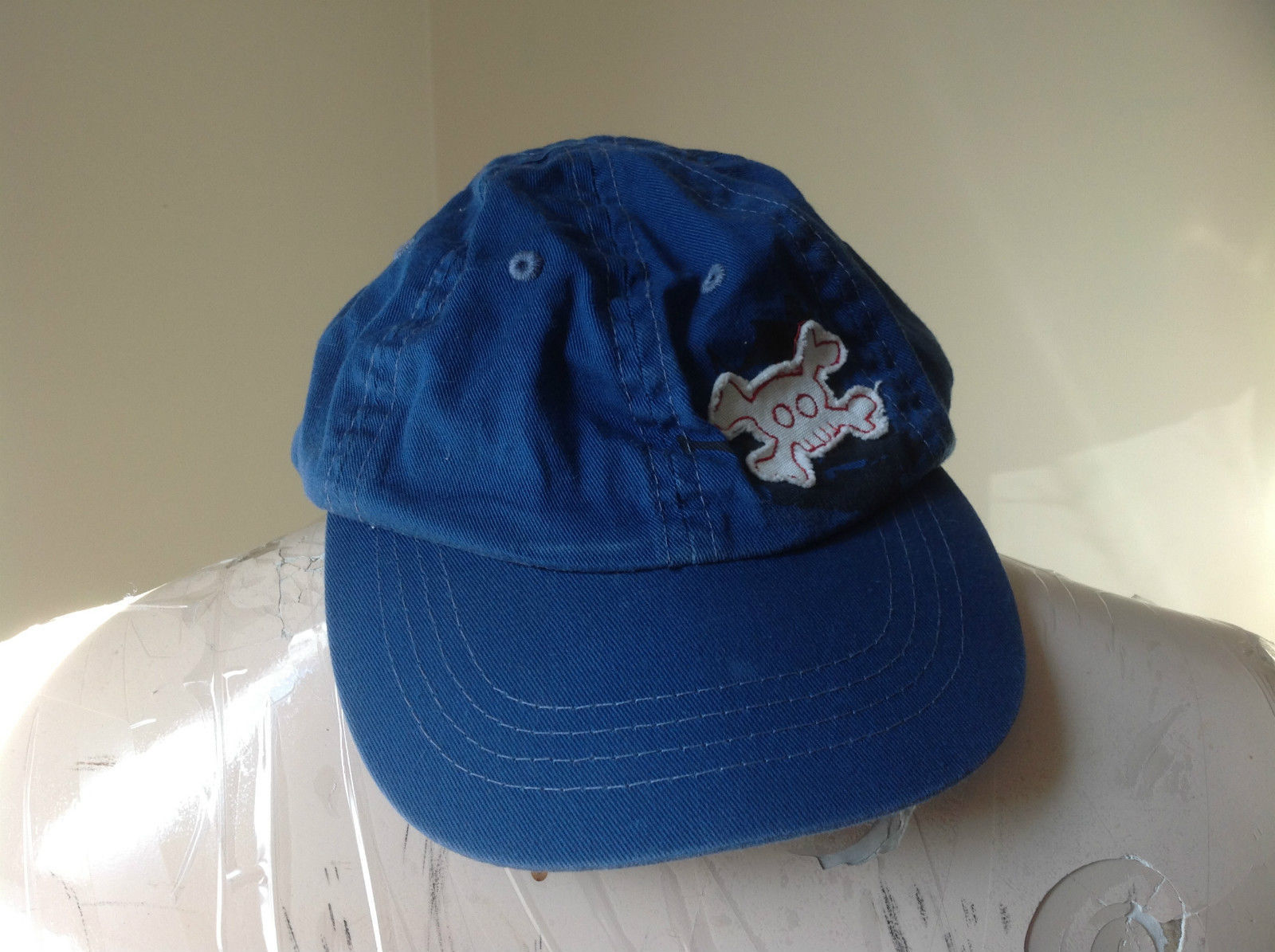 Young Boys Blue Baseball Hat Skull and Crossbones Design Velcro Adjustable