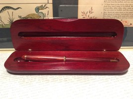 Beautiful Wooden Red Rosewood Pen with Stained Wood Red Case Golden Accents image 5