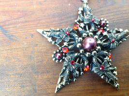 Stylish Gold Tone Scarf Pendant Star Shaped Red Beads and Red Crystals image 2