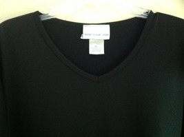 Susan Graver Black V-Neck Short  Sleeve Shirt  Size 3X image 2