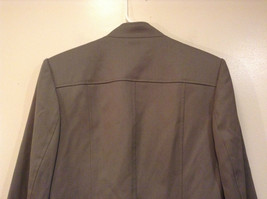 Talbots Gray Light Lined Blazer Size 6 Stand Collar Front Hidden Button Closure image 3