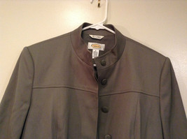 Talbots Gray Light Lined Blazer Size 6 Stand Collar Front Hidden Button Closure image 2