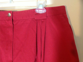 Talbots Red mid calf pleated skirt front pocker zipper button closure size 18 image 3