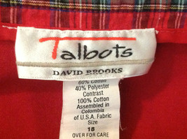 Talbots Red mid calf pleated skirt front pocker zipper button closure size 18 image 5