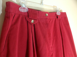 Talbots Red mid calf pleated skirt front pocker zipper button closure size 18 image 2