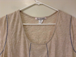 Beige Linea Donatella Size Large Sleeveless Top Uneven Bottom Lace on Back image 3