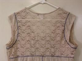 Beige Linea Donatella Size Large Sleeveless Top Uneven Bottom Lace on Back image 6