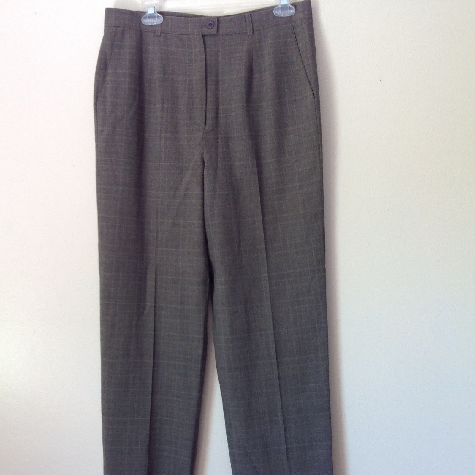 Zanella Plaid Dress Pants Brown Gray Made in Italy Size 10 Zipper Button Closure
