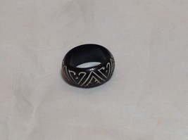 Zig Zag Wooden Ring Size 8, 9.75 Zig Zag Design is White Handcrafted