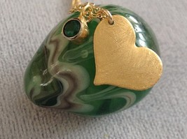 Zina Kao Flat Heart bezel set Charm Necklace All Gold Synthetic Emerald CZ