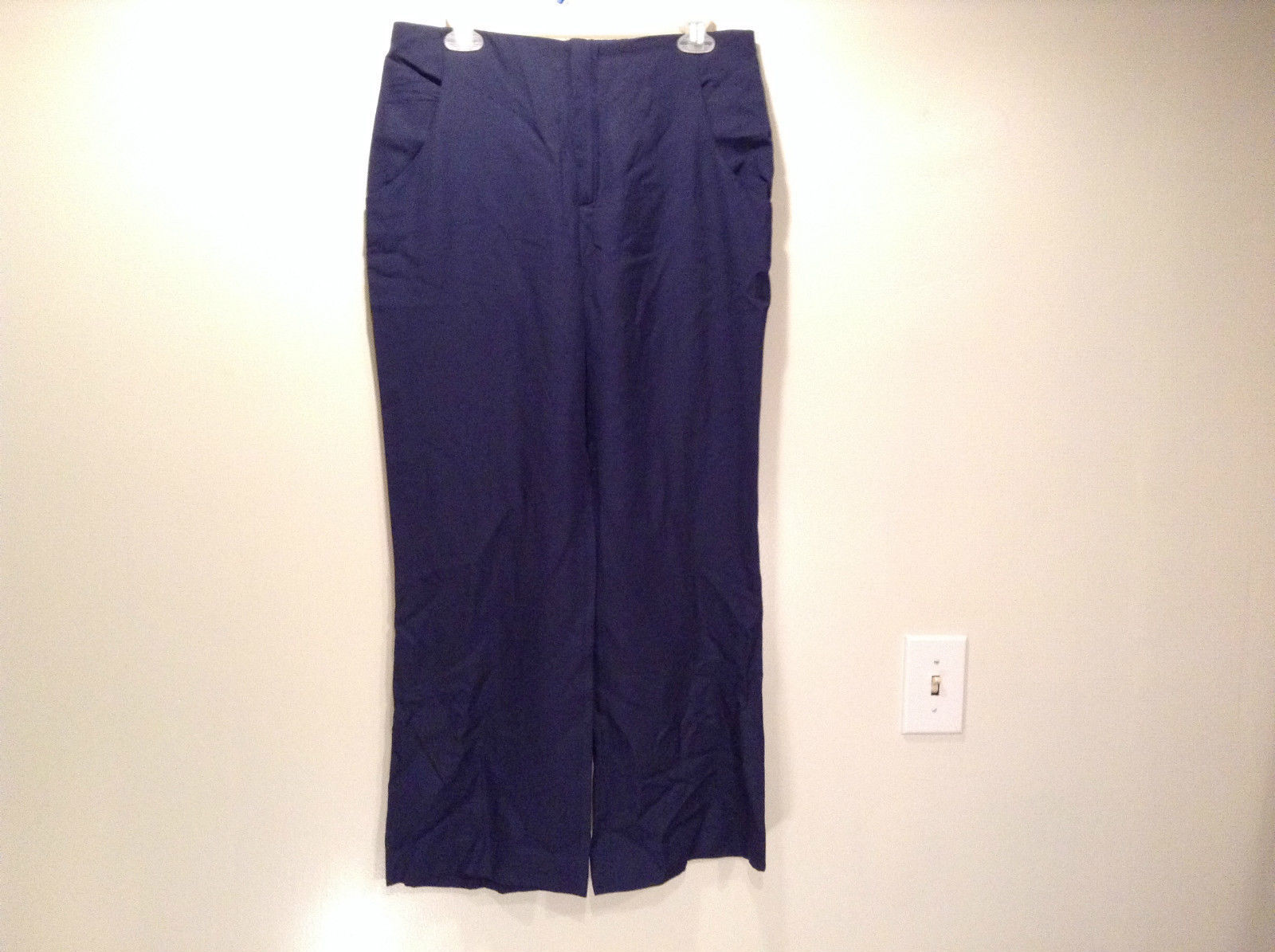 ZARA Woman Size Large Dark Blue Casual Pants Made in Spain Front Back Pockets
