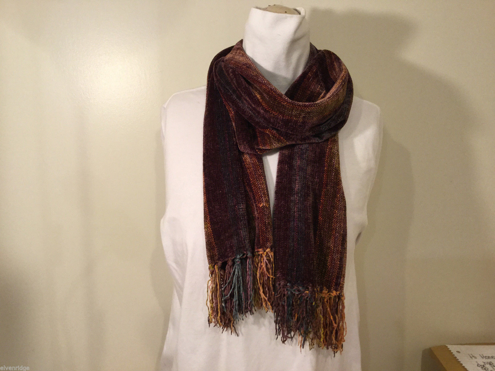 Zazou Luxe Striped Rayon Brown Multicolor Soft Scarf with Tassels