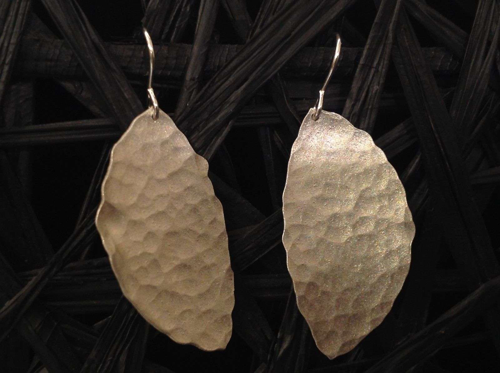 Zina Kao Sterling Silver Handmade Hammered Leaf Earrings Made in California